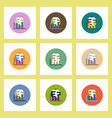 flat icons set of column chart and earth concept vector image vector image