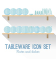 Flat set of different icons plates vector image vector image
