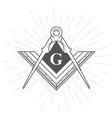 freemason symbol - illuminati logo with compasses vector image vector image