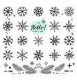 hand drawn snowflakes set vector image vector image