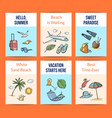 hand drawn summer travel elements card vector image vector image