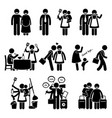 happy family husband and wife busy lifestyle vector image