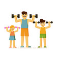 happy parent and children exercising together on vector image