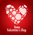 happy valentines day card with heart and red vector image vector image