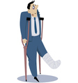 Injured man on crutches vector image vector image