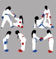 karate girls help vector image vector image