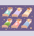 kids sleeping quiet hour in kindergarten blanket vector image vector image