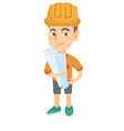 little caucasian engineer boy holding paper plans vector image