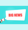 male hand holding megaphone with big news speech vector image vector image