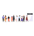 men and women dressed in trendy clothes standing vector image vector image