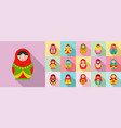 nesting doll icon set flat style vector image vector image