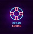 ocean cruise neon label vector image vector image