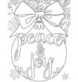 peace and joy black and white poster with tree vector image vector image