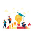 people in graduation caps stacks books light vector image vector image