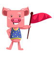 pig holding red flag on white background vector image vector image