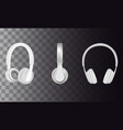 realistic white headphones icon set vector image