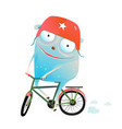 riding bicycle monster wearing helmet vector image vector image