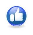 round blue icon with white hand like symbol vector image vector image