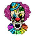 scary skull a clown in a hat vector image