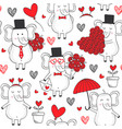 seamless pattern with elephant in love vector image vector image