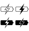 set battery charging icons battery vector image