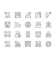 set face detection line icons id verification vector image vector image