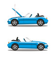 set of broken cartoon cyan blue cabriolet sport vector image