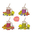 set of smoothies detox water and drinks vector image vector image