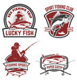 set of tuna fishing labels design elements for vector image