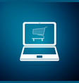 shopping cart on screen laptop icon vector image
