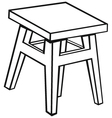Silhouette old wooden stool vector image vector image