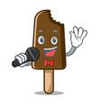singing chocolate ice cream mascot cartoon vector image vector image