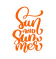 sun and summer lettering logo vector image vector image