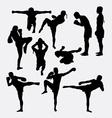 Thai boxer martial art silhouettes vector image vector image