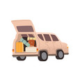touristic automobile with open trunk full of vector image