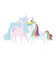 unicorns dream magic decoration cartoon isolated vector image vector image
