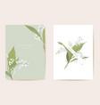 watercolor lily floral wedding card spring vector image vector image
