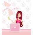 women purchasing product online using her laptop vector image vector image