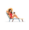 young woman bikini on sun lounger wearing vr vector image