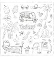 Hand drawn doodle Thailand travel set vector image