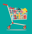 shopping cart full of groceries products vector image