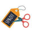 black friday coupon cutting with scissors design vector image