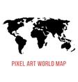 black world map in pixel art vector image vector image