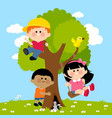 children playing on a tree vector image vector image