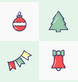 christmas and new year thin line decoration vector image
