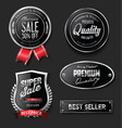 collection silver and black badges and labels vector image vector image