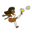comic cartoon female soccer player kicking ball vector image