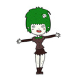 comic cartoon happy vampire girl vector image vector image
