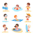 cute boys and girls playing on beach set kids vector image vector image