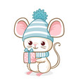 cute little mouse in a blue christmas hat is vector image vector image